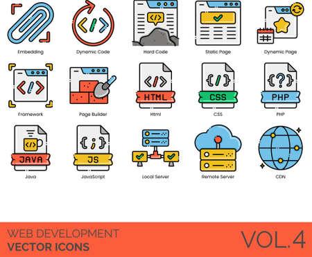 Line icons of web development, embedding, static page, framework, HTML, CSS, local server 免版税图像 - 157090594