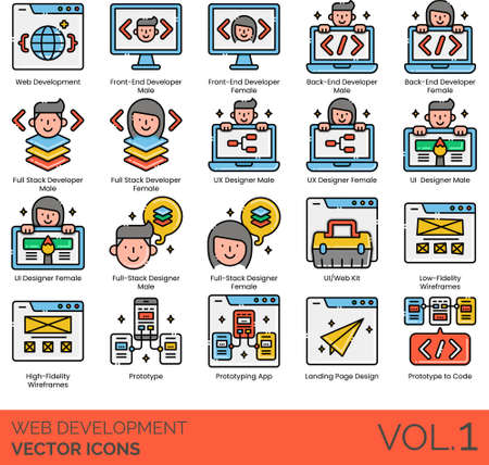 Line icons of web development, full stack developer, UI UX designer, wireframes, prototype to code