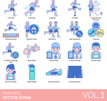Line icons of running categories, trainer, runner, running gear, accessories Illustration