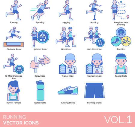 Line icons of running categories, trainer, runner, running gear, accessories Illustration