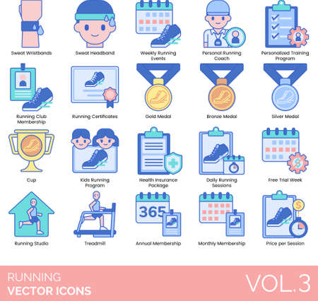 Line icons of running events, training program, awards, membership, free trial