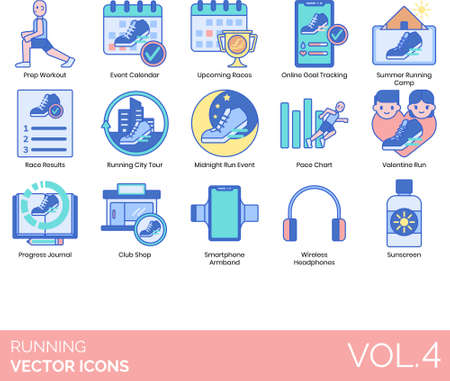 Line icons of running preparation, events, online goal tracking, accessories, sunscreen