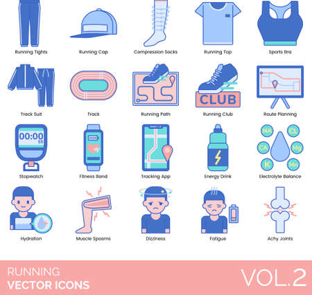 Line icons of running accessories, club, fitness app, tracking app, muscle spasm Ilustración de vector