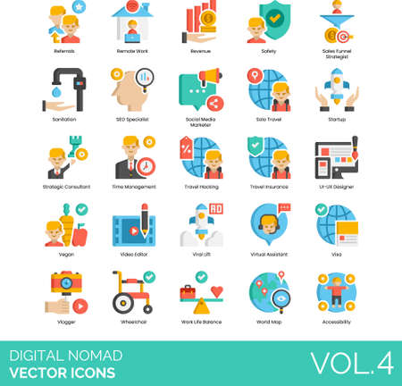 Flat icons of digital nomad career, time management, traveling, work life balance, accessibility 免版税图像 - 157090597
