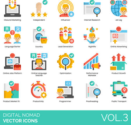 Flat icons of digital nomad lifestyle, online job platform, productivity, public transport