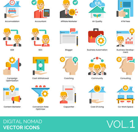 Flat icons of digital nomad related, business, remote work, living cost, coworking space. 免版税图像 - 157090600