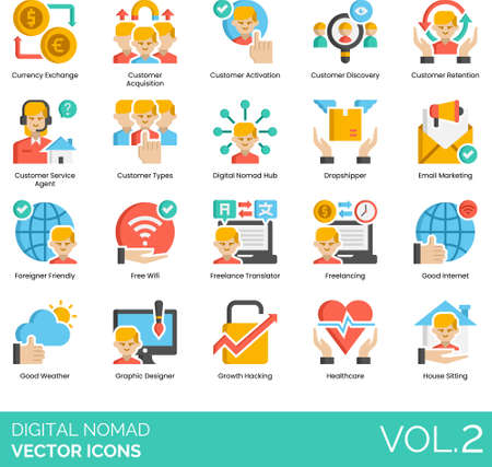 Flat icons of digital nomad career, remote working, freelancing benefits