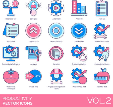 Line icons of productivity and work performance, balanced life, priority, analysis, management tools, strategy