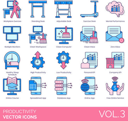 Line icons of productivity and work performance, workplace, KPI, online service, database app Illusztráció