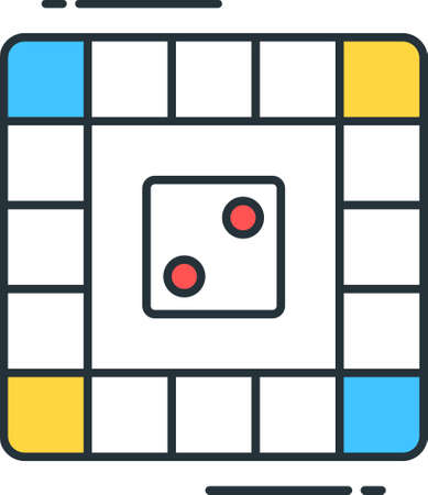 Line vector icon illustration of dice board game