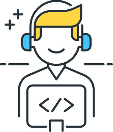 Line vector icon illustration of game developer with headphones working on computer 矢量图像