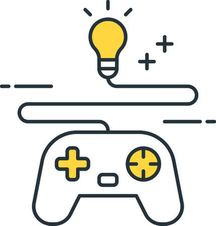 Line vector icon of game concept. Illustration of a bulb plugged into a gamepad. 免版税图像 - 157465392