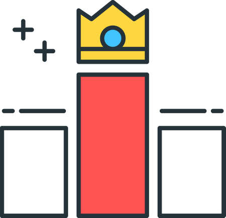 Line vector icon of game leader. Illustration of a crown on top of bar chart.