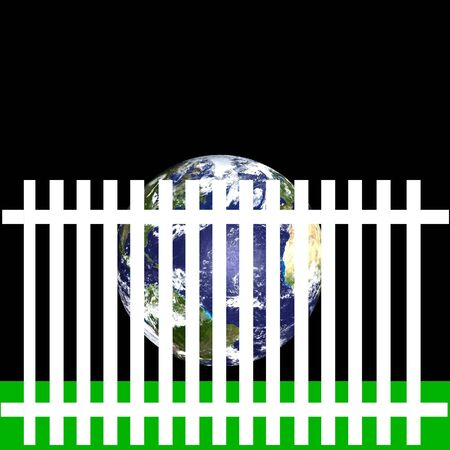 Earth behind fence