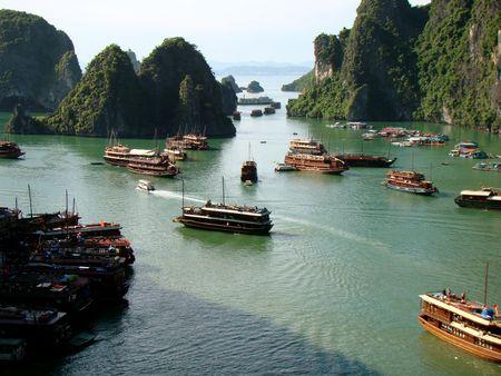 Boats in  Ha Long Bay Vietnam