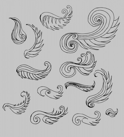 hand drawn wings: tattoo tribal hand drawing wings art graphic
