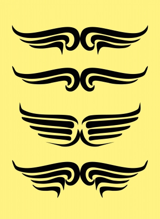 tattoo tribal line hand drawing wings graphic art Illustration