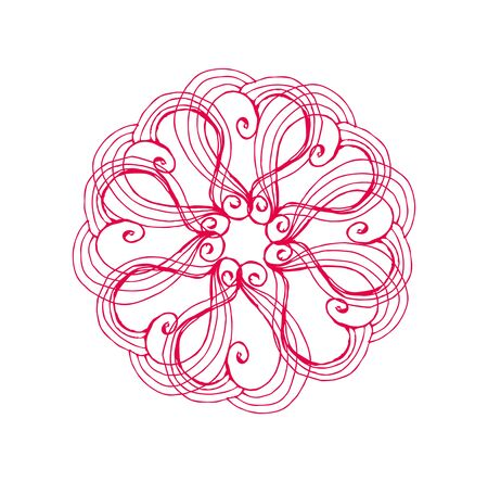 line drawings: hand drawings line red heart graphic art