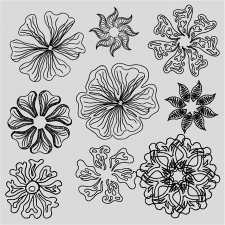 Retro styled hand drawn Hibiscus flower collection Illustration