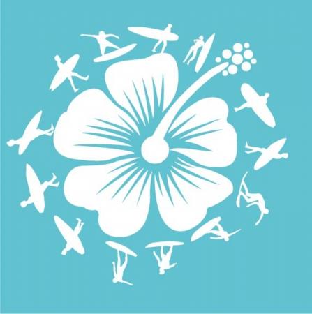 surf silhouettes: pacific surfer club campione graphic design