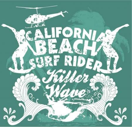 california coast: pacific surfer champion club graphic design