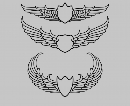 art tattoo tribal wings shield design Vector