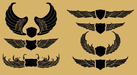 art tattoo tribal wings shield design