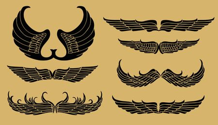 Set of tribal tattoo elements isolated on white Vector