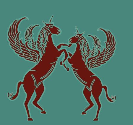 rearing: rearing up horse fine vector art Illustration