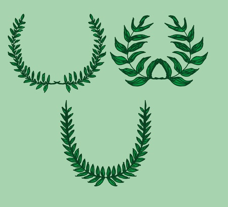 green background wreath leaf vector art Vector