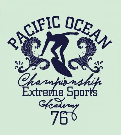 surf silhouettes: pacific surfer chamipon club di vettore di progettazione grafica