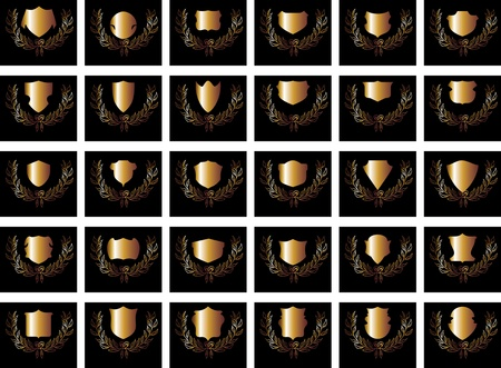 black background gold shield vector art Vector