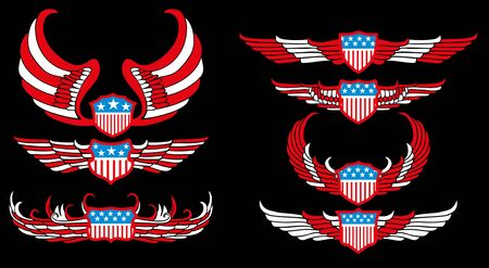 american flag wings shield vector art Vector