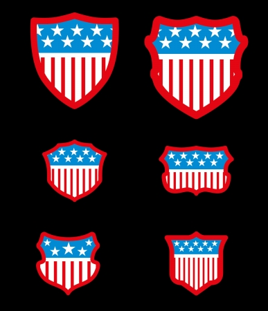 black background american flag shield vector art Vector