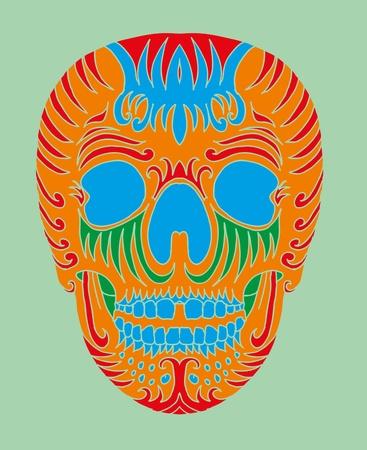 tattoo tribal mexican skull vector art Vector