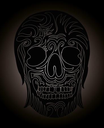 tattoo tribal mexican skull vector art Stock Vector - 19440493