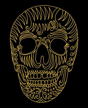 tattoo tribal mexican skull vector art Stock Vector - 19440485