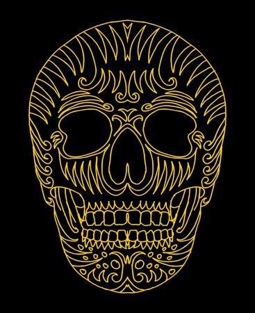 tattoo tribal mexican skull vector art Stock Vector - 19440484