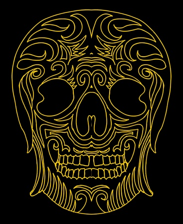 tattoo tribal mexican skull vector art Stock Vector - 19440478