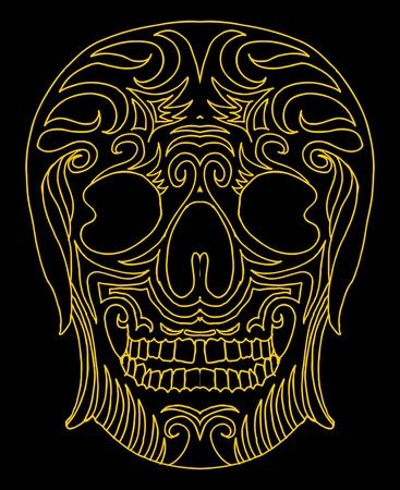 tattoo tribal mexican skull vector art Stock Vector - 19440478