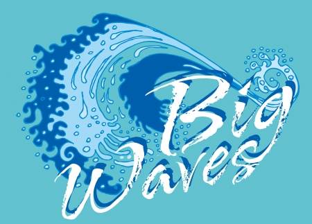 blue background big wave vector art Illustration