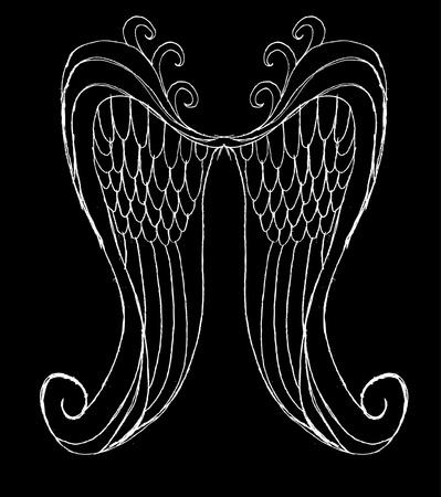 dark angel: hand drawing wings vector art Illustration
