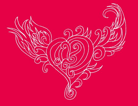 tribal tattoo hand drawing heart vector art