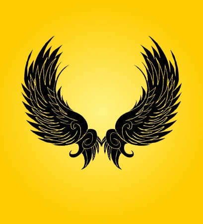 hand drawing wings vector art Illustration