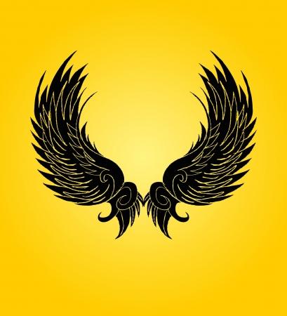 engel tattoo: Handzeichnung Flügeln Vektor-Kunst