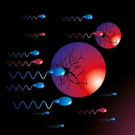mating: black background sperm vector art