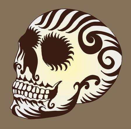 devil's bones: tattoo tribal mexican skull vector art