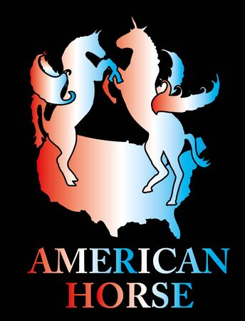 american map and horse vector art Stock Vector - 19582314