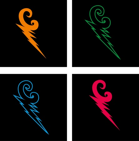 mix color thunderbolt vector art Vector