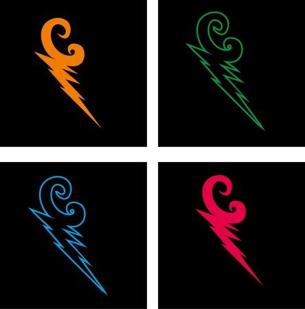 electrocution: mix color thunderbolt vector art